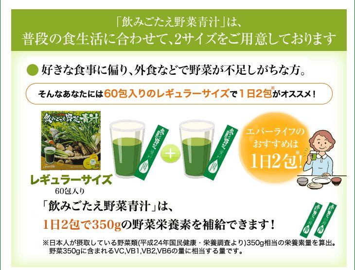 飲みごたえ野菜青汁は普段の食生活に合わせて、2サイズをご用意しております。好きな食事に偏り、外食などで野菜が不足しがちな方。そんなあなたは60包入りのレギュラーサイズで1日2包がオススメ