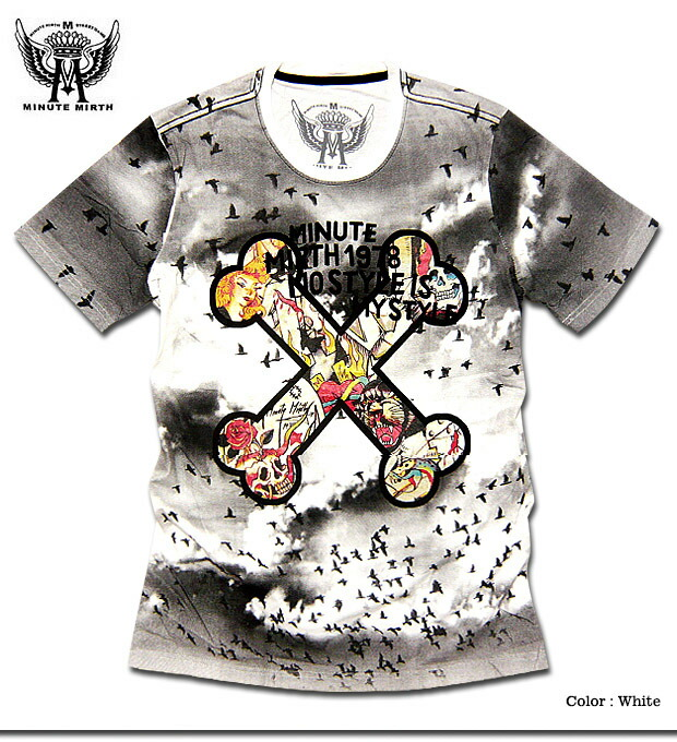 d1ef880a1532 Popular brands of street style MINUTE MIERTH ( ミニットマース ) General full-color  printing is that powerful crossbones print short sleeve men's t-shirt!