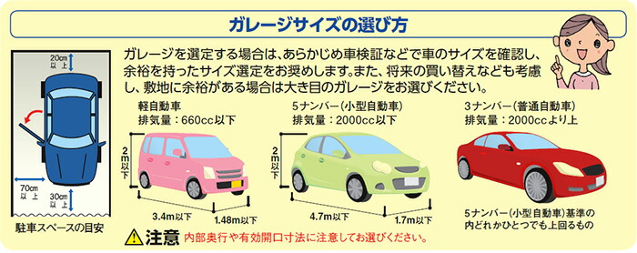 ガレージサイズの選び方