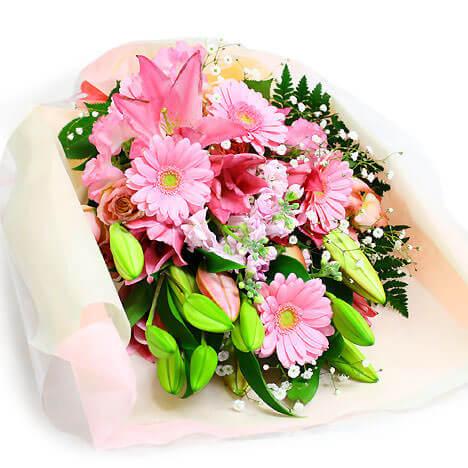 華やかなユリの花束・ピンク【電報屋のエクスメール】