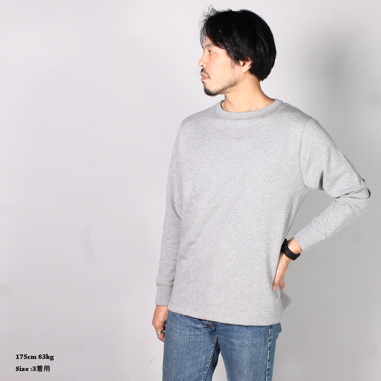 BANDOL (バンドール)  FRENCH TERRY MILITARY CREW SWEAT - GRIS CHINE