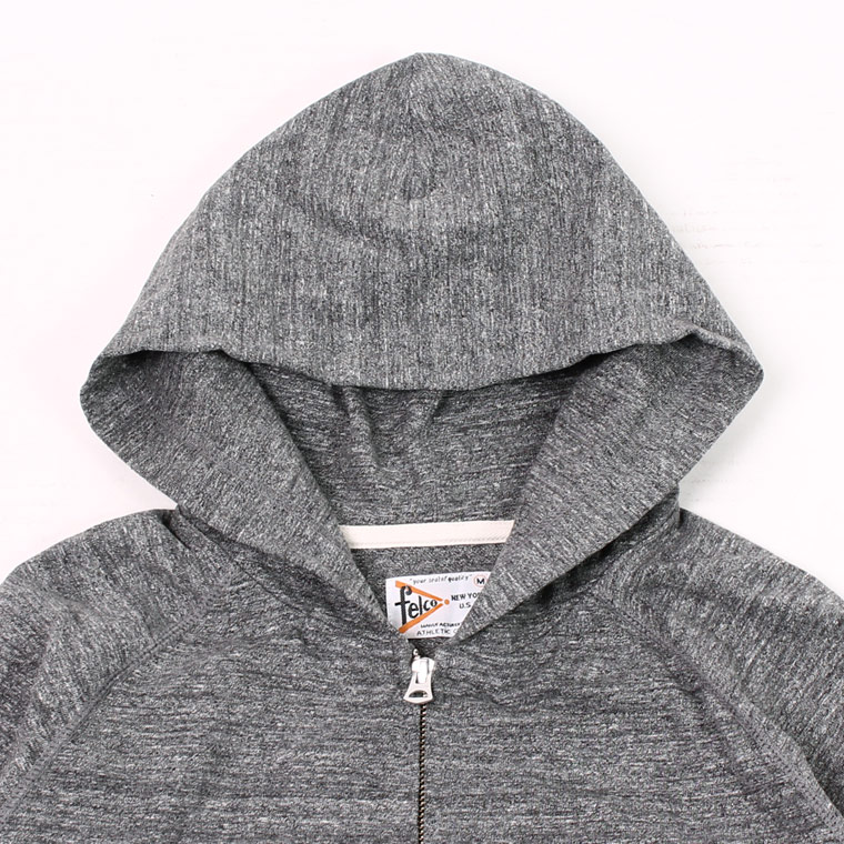 FELCO (フェルコ)  RAGLAN SLEEVE ZIP HOODED SUPER HARD JERSEY / HEATHER CHACOAL