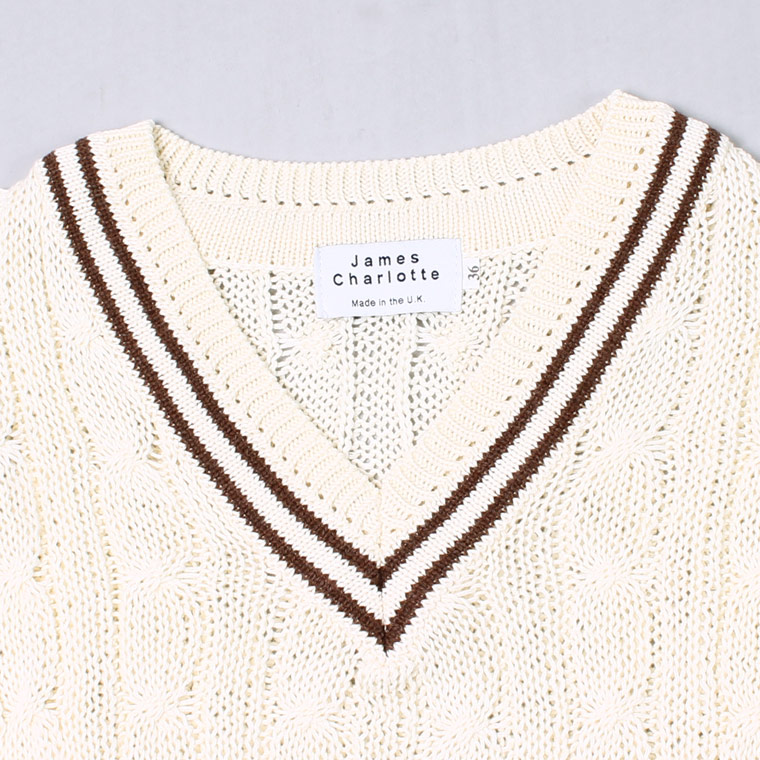 JAMES CHARLOTTE (ジェームス シャルロット)  CRICKET CABLE VEE PULLOVER SWEATER COTTON - WILD OAT + BRONZE_WILD OAT
