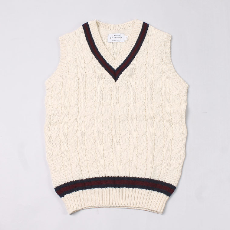 JAMES CHARLOTTE (ジェームス シャルロット)  CRICKET CABLE VEE SLIPOVER SWEATER - ARAN + NAVY_BURGUNDY_NAVY