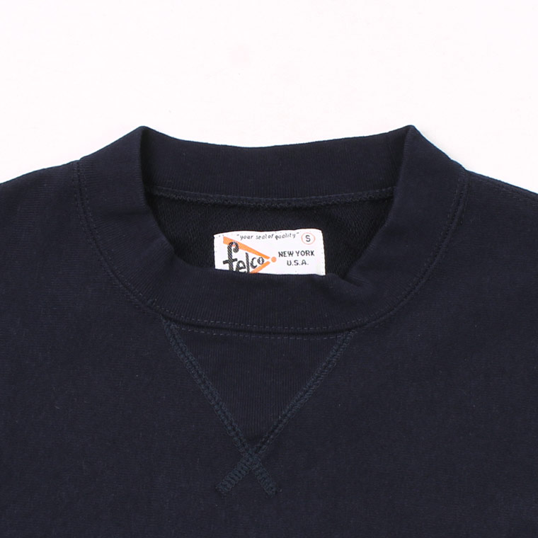 FELCO (フェルコ)  L/S INVERSE WEAVE V GUSSET SWEAT 12oz LT WEIGHT FRENCH TERRY - ITALIAN NAVY