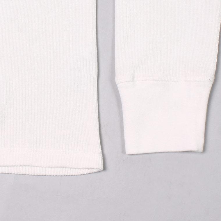 EMPIRE & SONS (エンパイア アンド サンズ)  L/S HENLEY NECK-T HALF CARDIGAN STITCH - OFF WHITE_WHITE