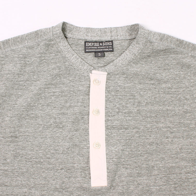 EMPIRE & SONS (エンパイア アンド サンズ)  L/S HENLEY NECK-T HALF CARDIGAN STITCH - HEATHER GRAY_NATURAL