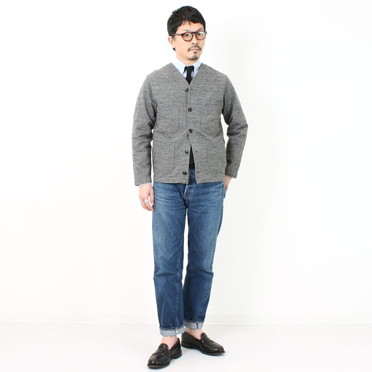 FELCO (フェルコ)  4PATCH POCKET CARDIGAN SUPER HARD JERSEY - HEATHER CHARCOAL
