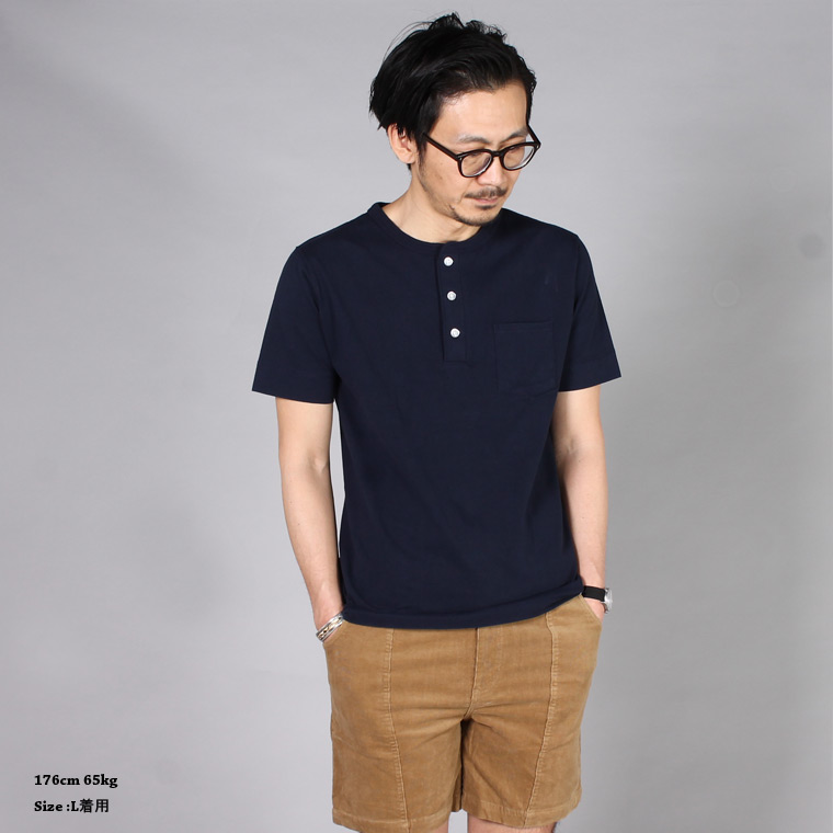 FELCO (フェルコ)  S/S HENLEY NECK POCKET-T U.S.COTTON OPEN END JERSEY - NAVY