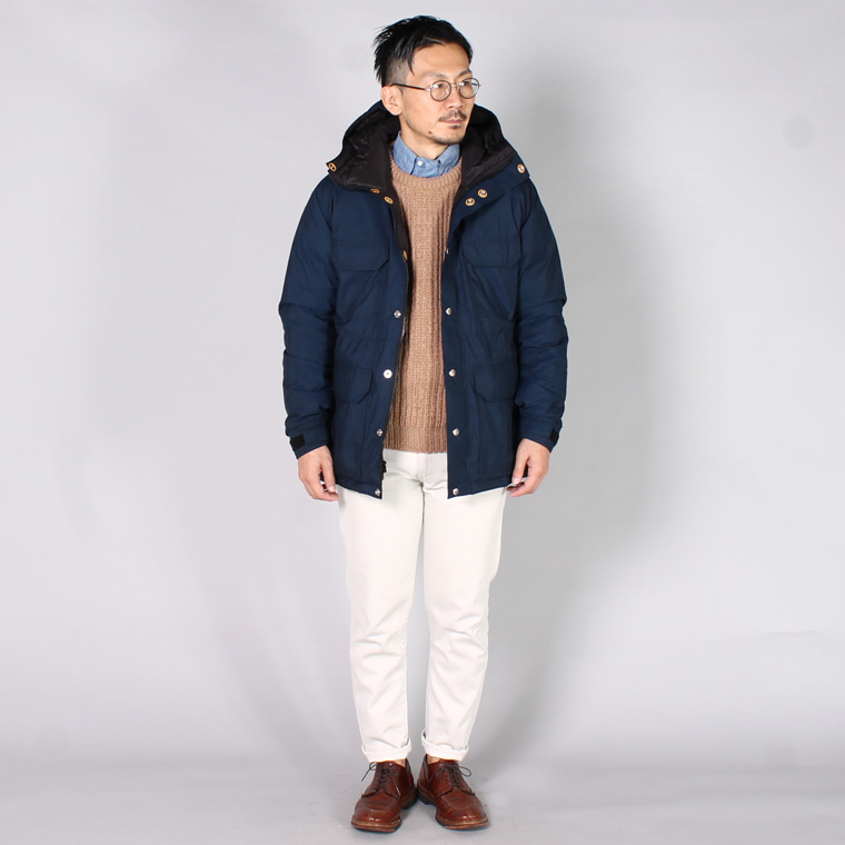 CRESCENT DOWN WORKS (クレセントダウンワークス)  DOWN LINED MOUNTAIN PARKA 60/40 STREAK FREE w/ LOGO SNAP - NAVY_BLACK