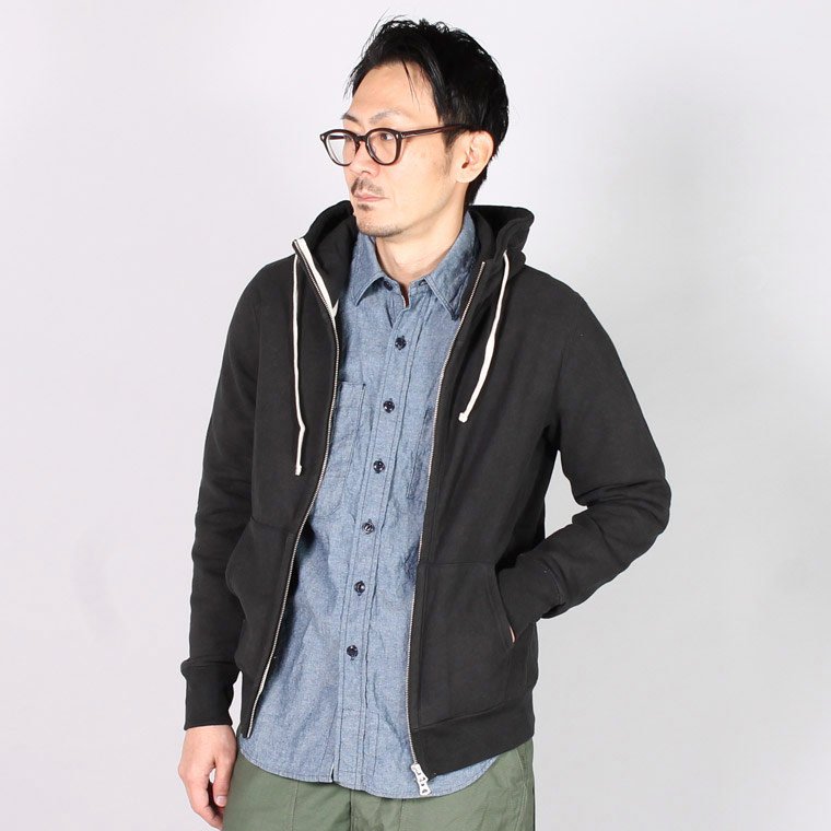 FELCO (フェルコ)  16oz NEW HEAVY WEIGHT TERRY INVERSE WEAVE SWEAT HIGH NECK FULL ZIP PARKA - BLACK