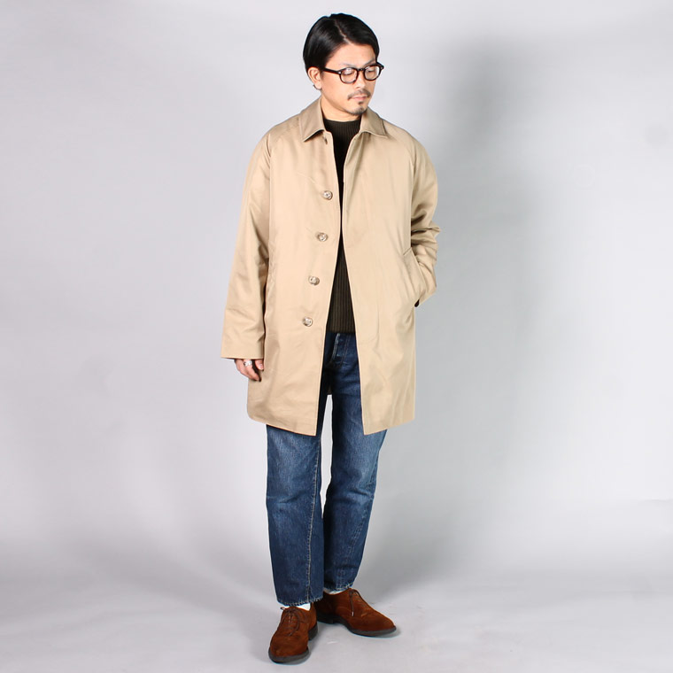 FTRAFALGAR SHIELD (トラファルガーシールド)  T-17 RAGLAN SLEEVE BAL COLLAR COAT 60/2 WATER REPELLENT w/DETACHABLE ZIP LINING - TAN