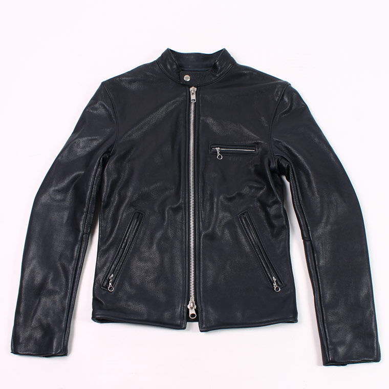 VANSON (バンソン)  B-SLIM FITTED SOFT COW LEATHER - NAVY