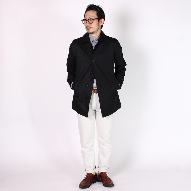 TRAFALGAR SHIELD (トラファルガーシールド)  T-4 SHORT BAL COLLAR W/ROSE TARTAN LINING VENTAILE COTTON 60/2 GABADIN - BLACK