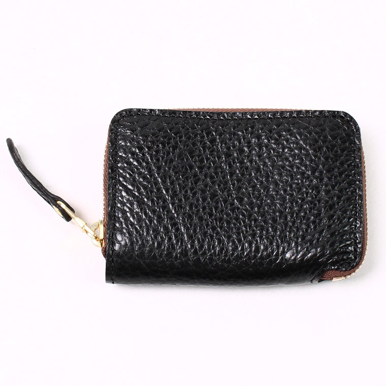 KC'S LEATHER CRAFT (ケイシイズレザークラフト)  MINI WALLET ROUNDZIP AMERICAN BISON - BLACK