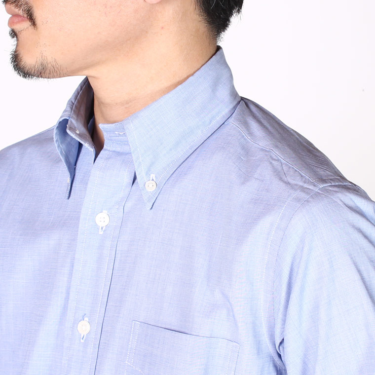 KEATON CHASE USA (キートンチェイスUSA) L/S STANDARD BD END ON END SHIRT LIGHT LINING - BLUE