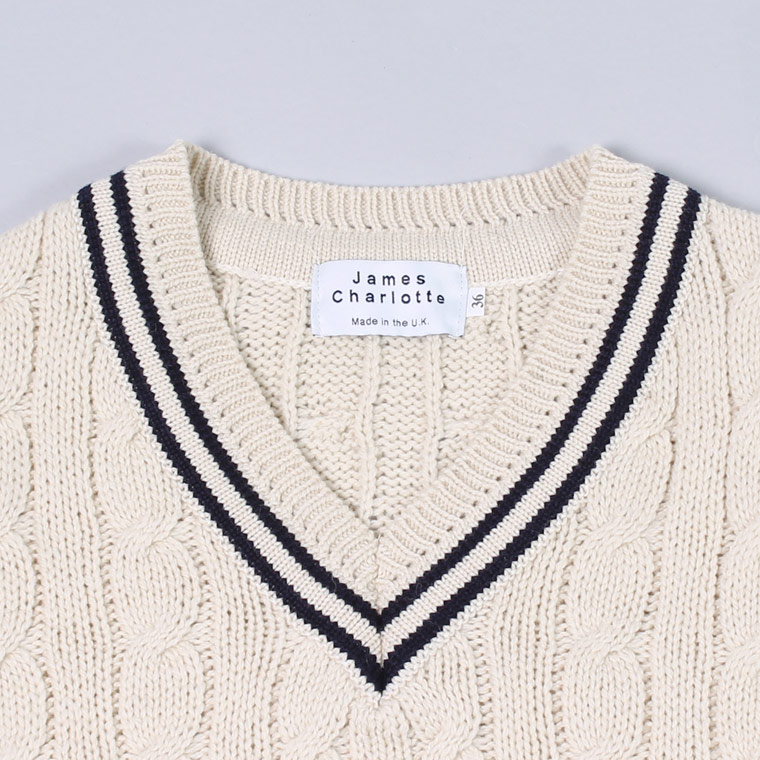 JAMES CHARLOTTE (ジェームス シャルロット)  CRICKET CABLE VEE PULLOVER SWEATER - BLANCO_AZUL_BLANCO