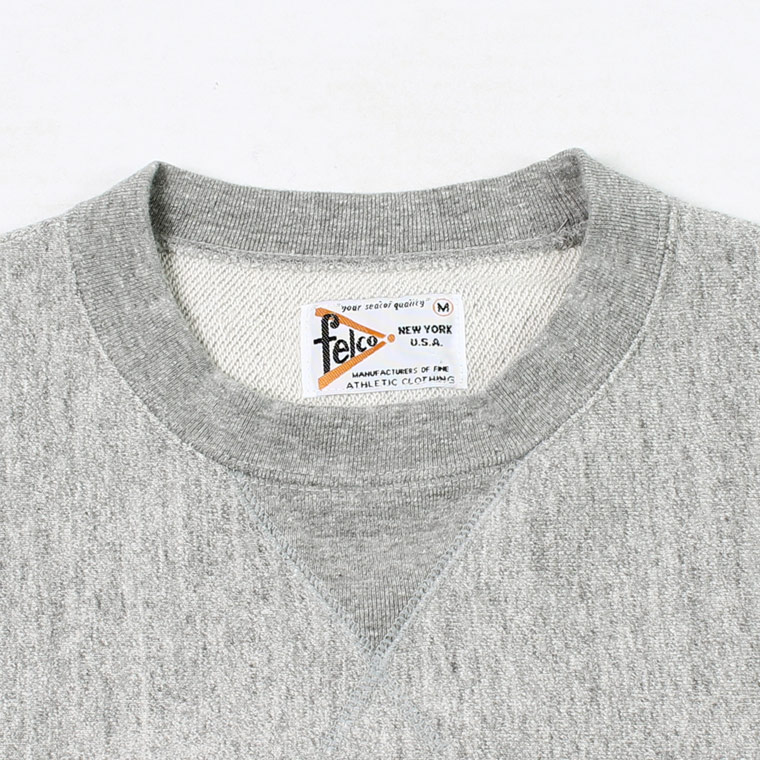 FELCO (フェルコ)  S/S INVERSE WEAVE SWEAT 12oz LT WEIGHT FRENCH TERRY - HEATHER GREY