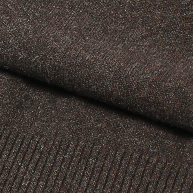 WILLIAM LOCKIE (ウィリアム ロッキー)  LAMBSWOOL 8BUTTON CARDIGAN - COCOA