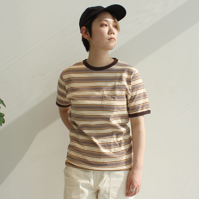 FELCO (フェルコ)  S/S AMRICAN MUTI STRIPE RINGER POCKET TEE - BEIGE_BROWN