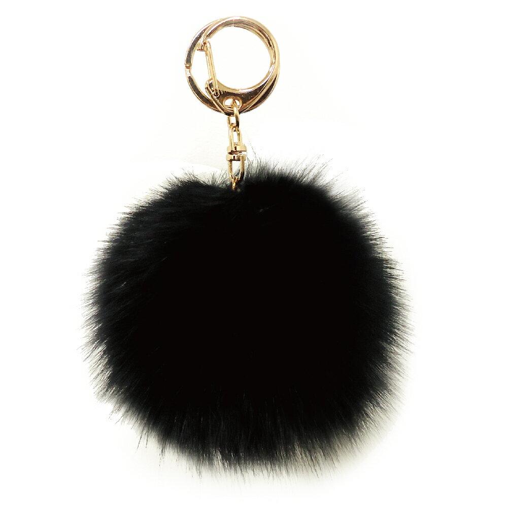 [フォックスファーチャーム]20色!【ハイクオリティ リッチファー】バッグ ポーチ チャーム キーチェーン可愛いふわふわ直径10センチ|ブラック