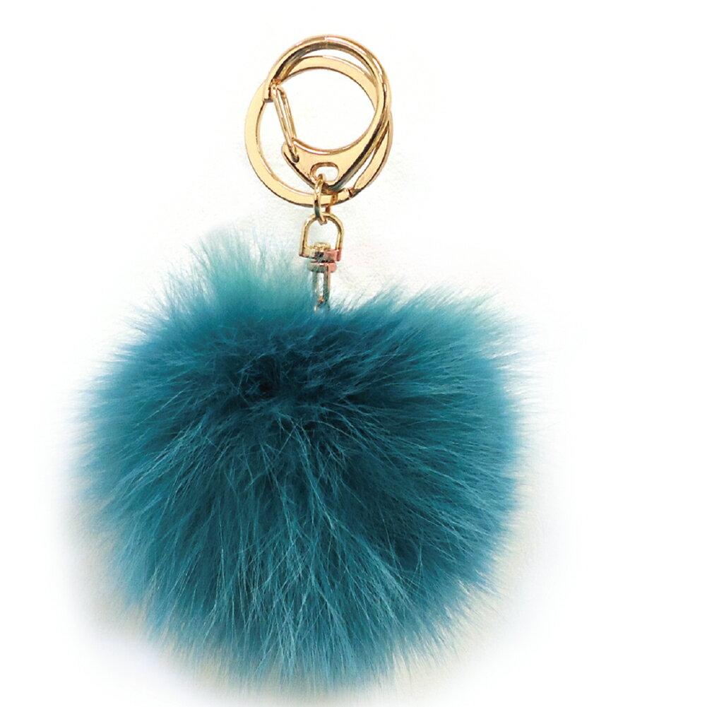 [フォックスファーチャーム]20色!【ハイクオリティ リッチファー】バッグ ポーチ チャーム キーチェーン可愛いふわふわ直径10センチ|ブルー
