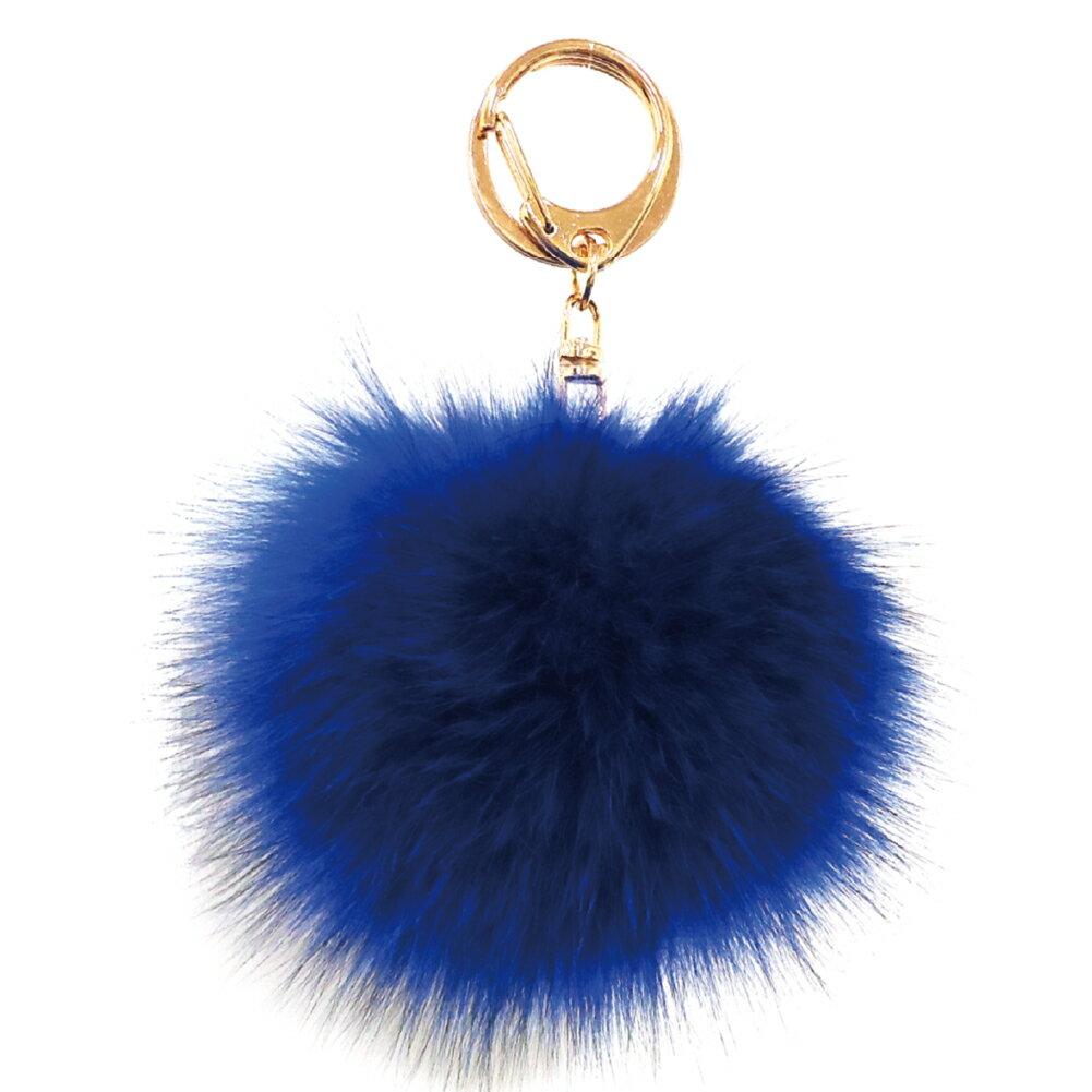 [フォックスファーチャーム]20色!【ハイクオリティ リッチファー】バッグ ポーチ チャーム キーチェーン可愛いふわふわ直径10センチ|ディープブルー