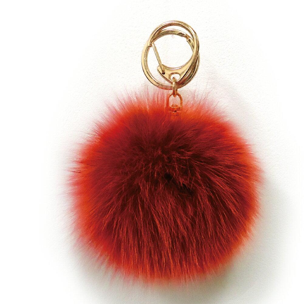 [フォックスファーチャーム]20色!【ハイクオリティ リッチファー】バッグ ポーチ チャーム キーチェーン可愛いふわふわ直径10センチ|ダークオレンジ