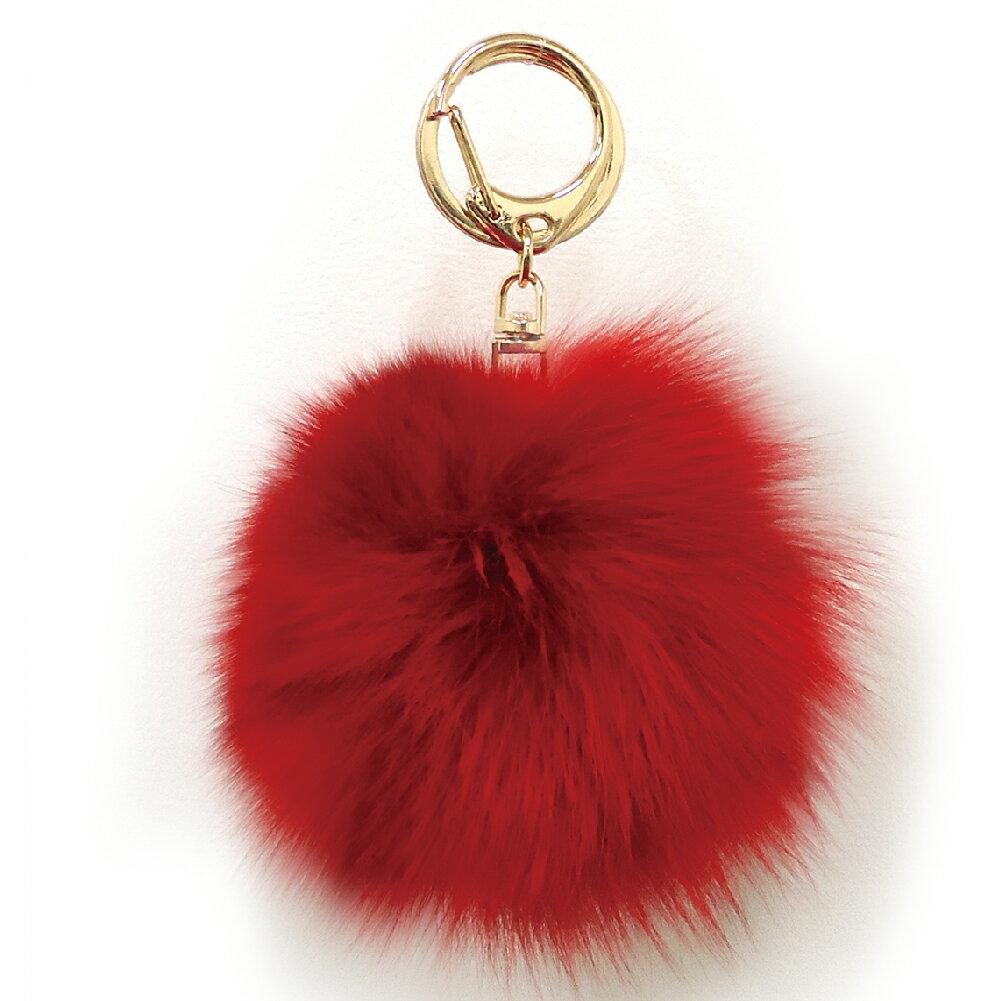 [フォックスファーチャーム]20色!【ハイクオリティ リッチファー】バッグ ポーチ チャーム キーチェーン可愛いふわふわ直径10センチ|レッド