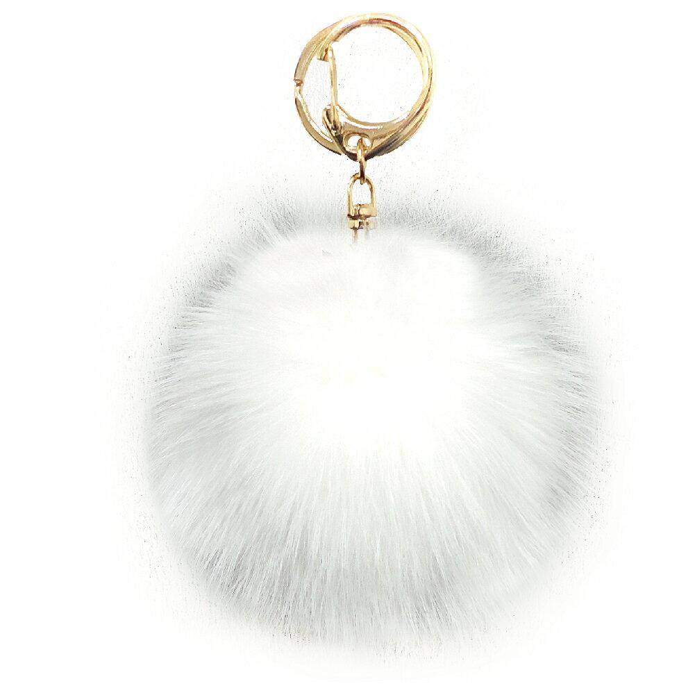 [フォックスファーチャーム]20色!【ハイクオリティ リッチファー】バッグ ポーチ チャーム キーチェーン可愛いふわふわ直径10センチ|ホワイト