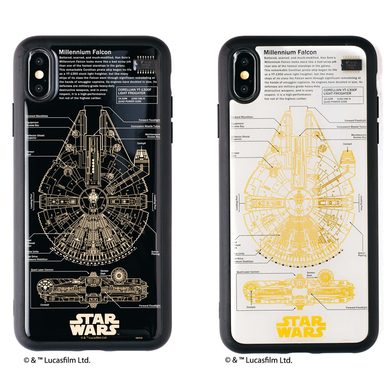 STAR WARS FLASH M-FALCON 基板アート iPhone XS Maxケース
