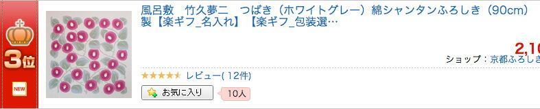竹久夢二 つばき(ホワイトグレー)綿シャンタンふろしき(90cm)が風呂敷ランキング3位