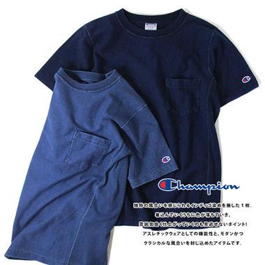 Champion チャンピオン REVERSE WEAVE リバースウィーブ インディゴ染め ポケット Tシャツ