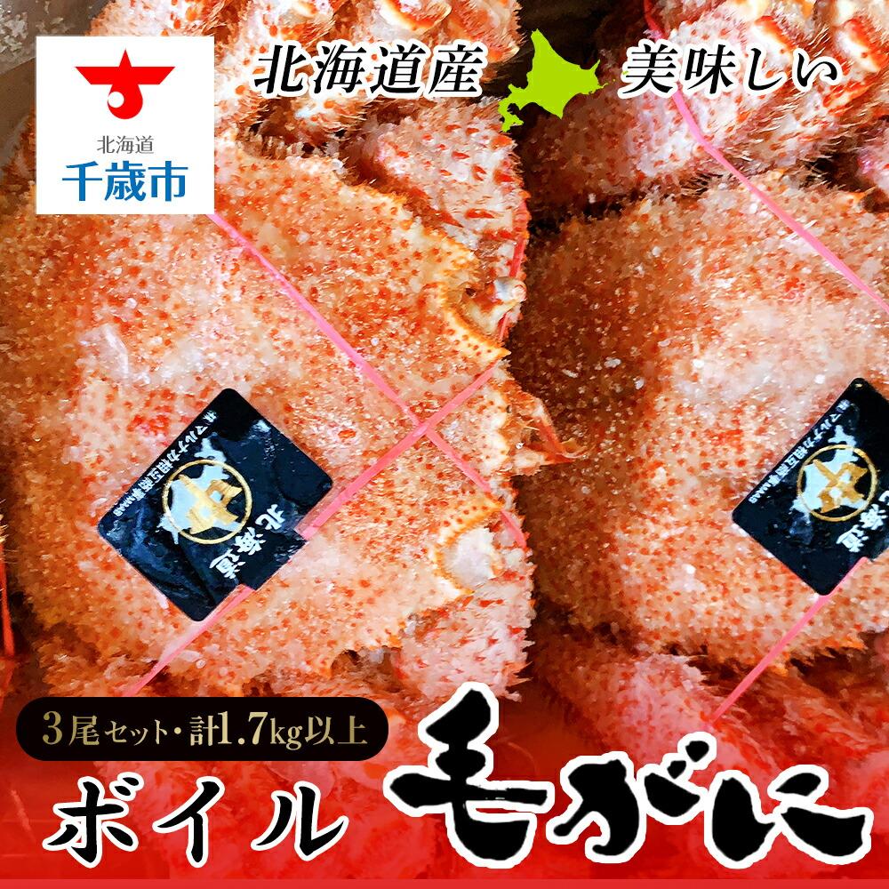 北海道千歳市 【ふるさと納税】北海道産美味しいボイル毛がに3尾1.7kg以上 毛がに 蟹...