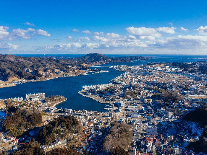 安波山から見る 港町 気仙沼