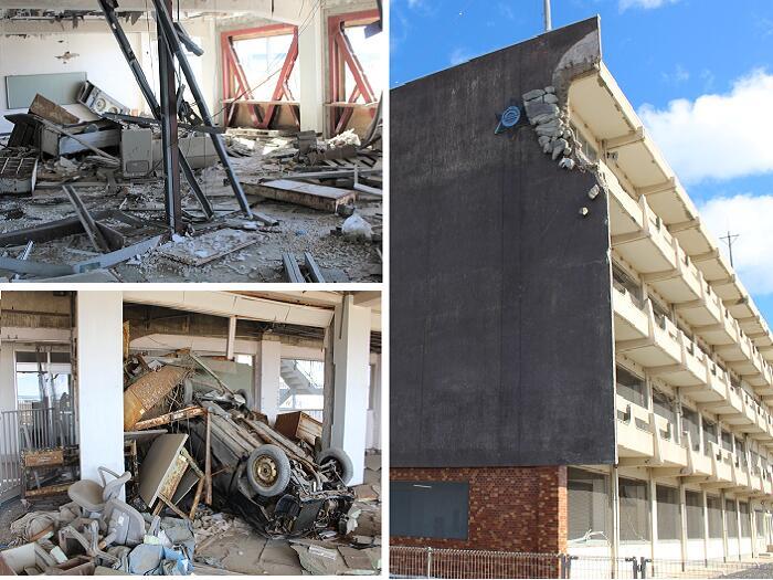 【東日本大震災遺構・伝承館】気仙沼向洋高校旧校舎には4階まで津波が押し寄せた(右)