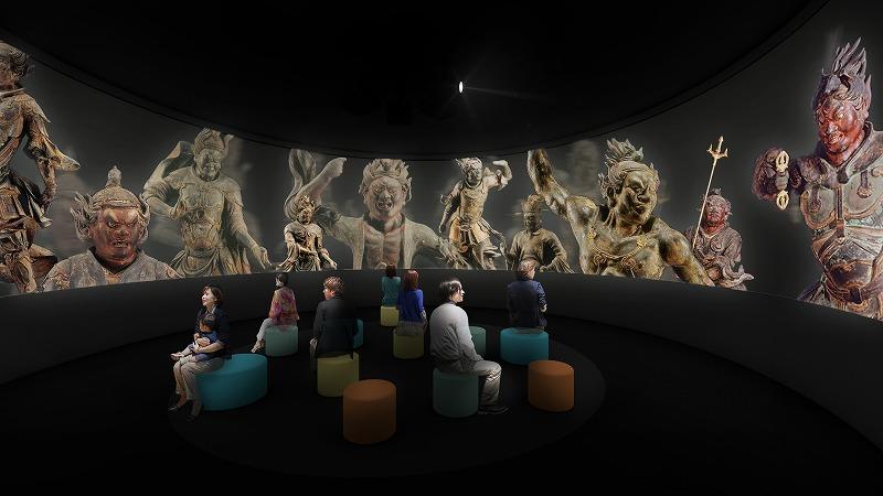 大型ラウンドスクリーンを使った迫力ある映像で史跡や文化財の魅力を伝える