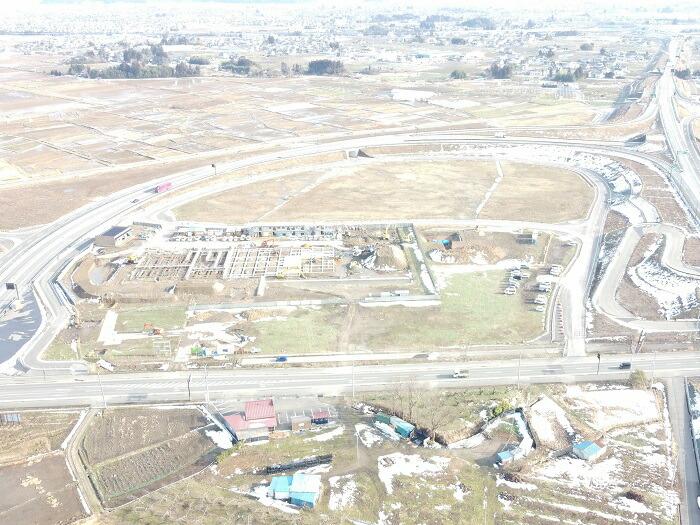 「(仮称)道の駅ふくしま」工事状況(2021年2月)