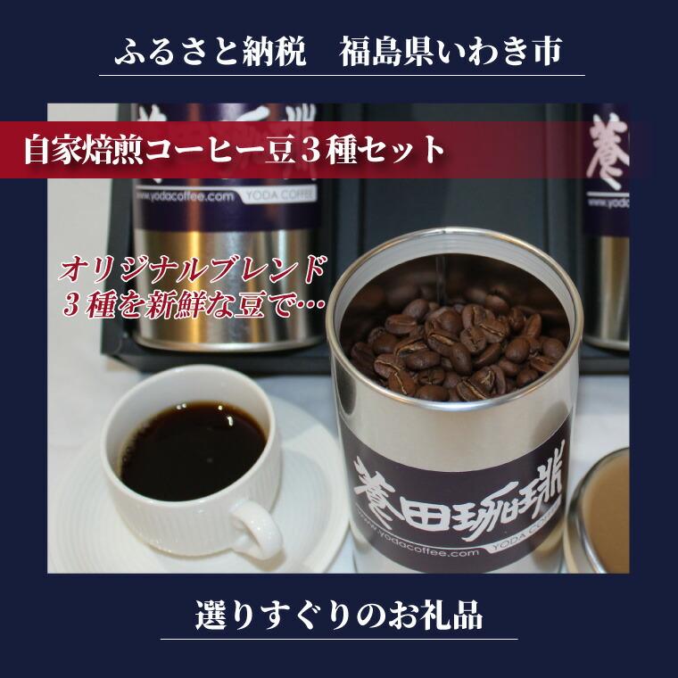 福島県いわき市 【ふるさと納税】自家焙煎コーヒー豆3種セット