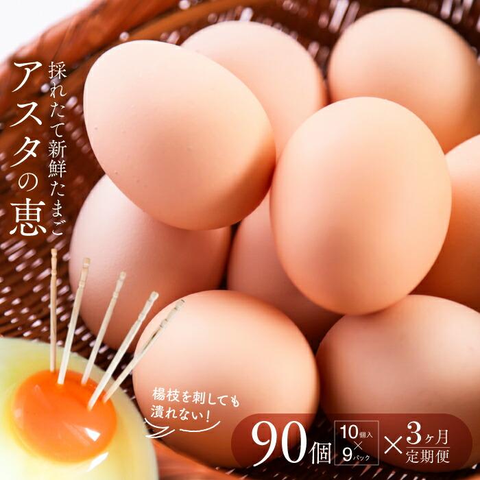茨城県行方市 【ふるさと納税】◆3ヵ月定期便◆ 黄身がしっかり濃厚な卵【アスタの恵み】9...
