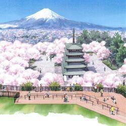 新倉山浅間公園展望デッキ支援(ネームプレートを設置します)