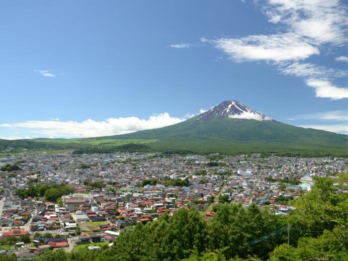 新倉山浅間公園から富士山と市街地を望む