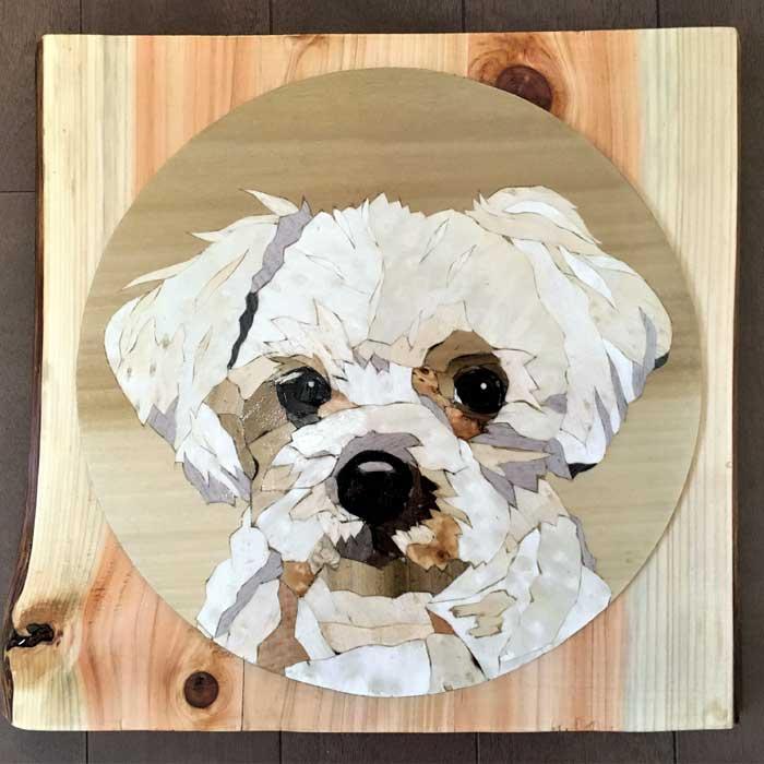 静岡県伊東市 伊豆・伊東 森のぞうがん美術館 木象嵌で作る「愛犬肖像画」 1枚【ふるさと納税】
