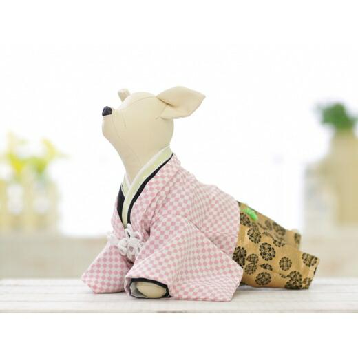兵庫県洲本市 【ふるさと納税】EM19*かわいいピンク市松柄!小型犬のオリジナル本格着物...
