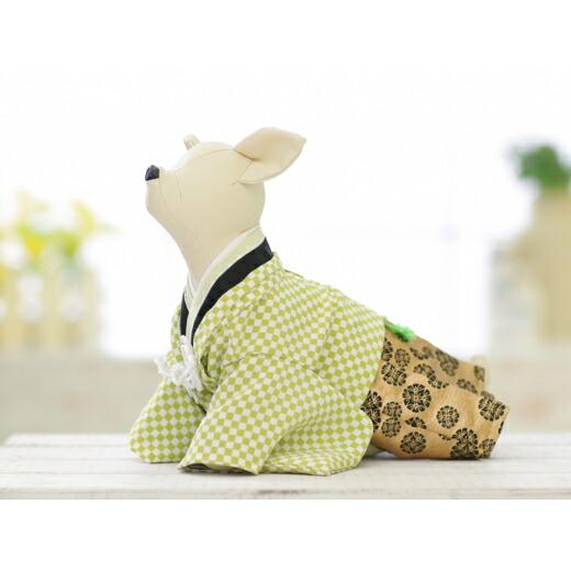 兵庫県洲本市 【ふるさと納税】EM20*おしゃれな黄緑市松柄!小型犬のオリジナル本格着物...