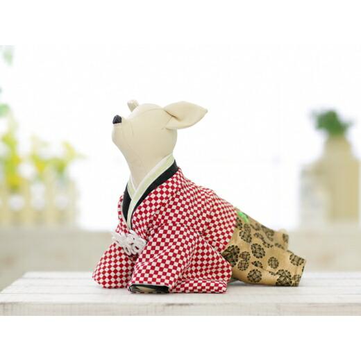 兵庫県洲本市 【ふるさと納税】EM21*1番人気の紅白市松柄!小型犬のオリジナル本格着物...