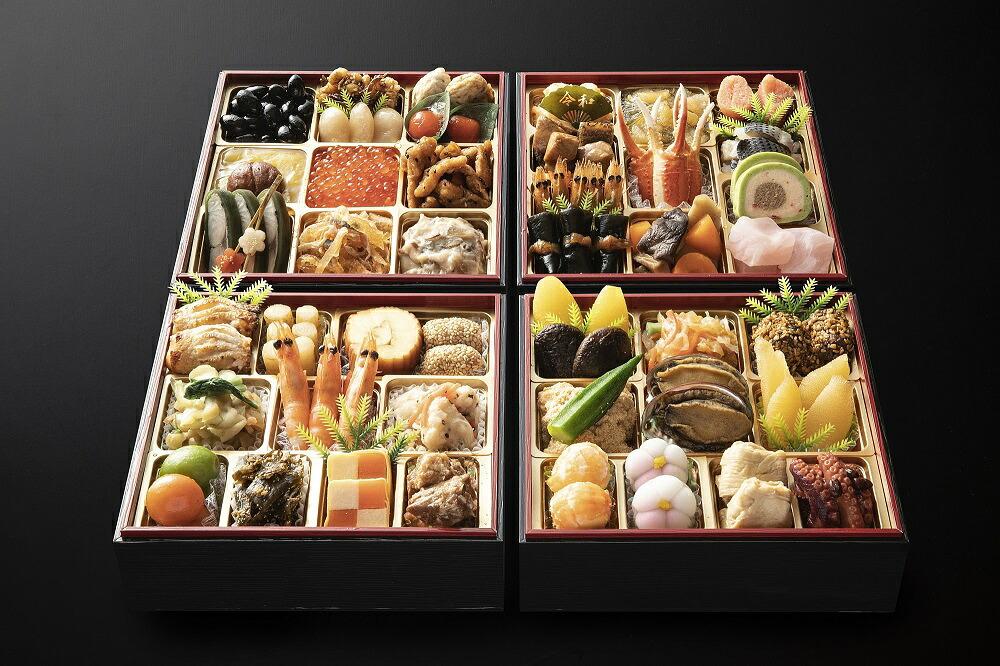 日本料理てら岡 おせち 博多鶴与段重+博多水炊きセット(4~5人前/鍋3~4人前)