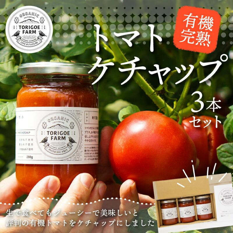 福岡県赤村 【ふるさと納税】 有機 完熟トマト の セット(ケチャップ280g×3本)