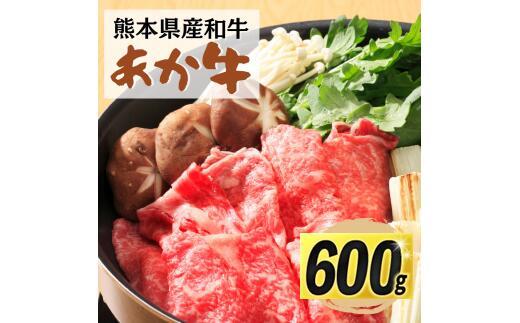 熊本県甲佐町 【ふるさと納税】熊本県産 和牛 あか牛 すきやき用 600g