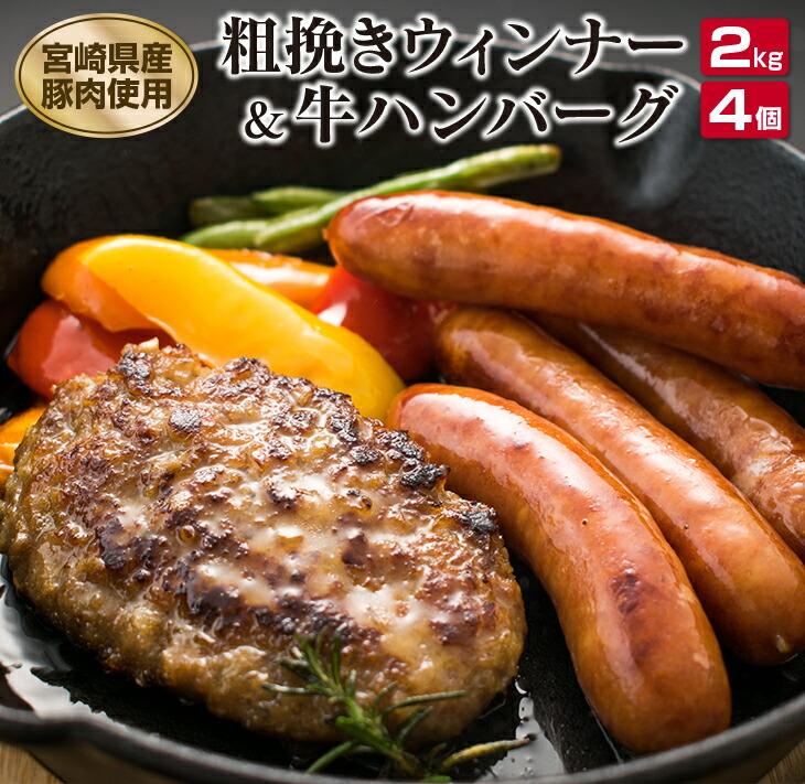 【ふるさと納税】粗挽きウィンナー2kg(県産豚肉使用)&国産牛ハンバーグ4個セット
